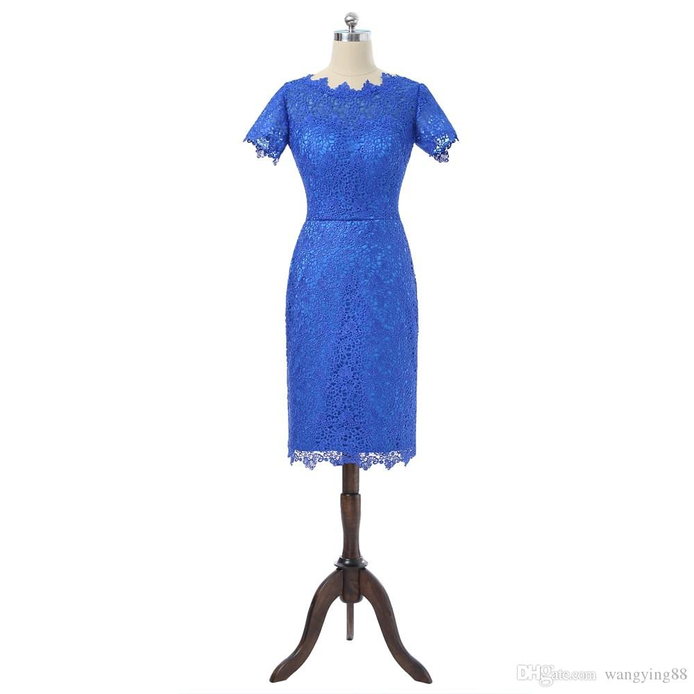Royal Blue 2018 Mother Of The Bride Dresses Sheath Cap Sleeves Knee Length Lace Plus Size Groom Mother Dresses For Wedding