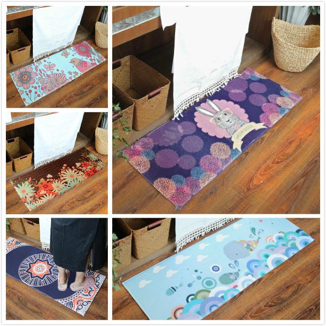Rabbit Flowers Printed Kitchen Mat Anti-slip Area Rugs Living Room Balcony Bathroom Carpet Set Doormat Bath Mats Bedside Rugs