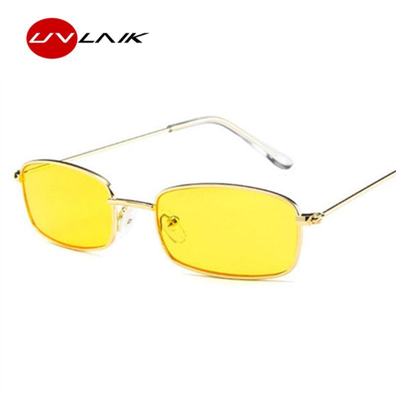 7cc533ae0ad06 Compre UVLAIK Armação De Metal Óculos De Sol Dos Homens Retro Pequeno  Quadrado Óculos De Sol Das Mulheres Lente Amarela Pequena Cat Eye Sunglass  Feminino ...
