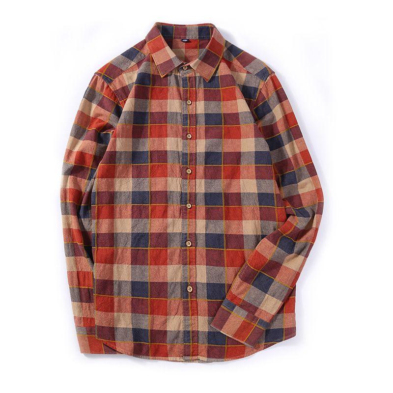 Qualité Homme Automne Manches Coton À Chemises Mâle Bonne Rétro Hommes Chemise Carreaux Rouge Longues Nn0v8wmO