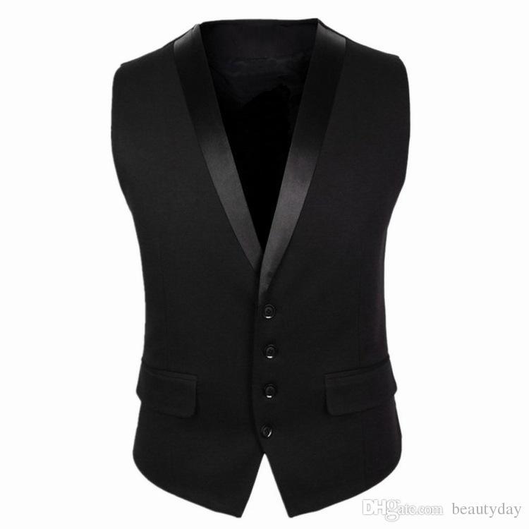 2018 New Groom Vests For Wedding Party Vests Slim Fit Mens Vests Custom Made Plus Size British Style Groom Wear Business Suit