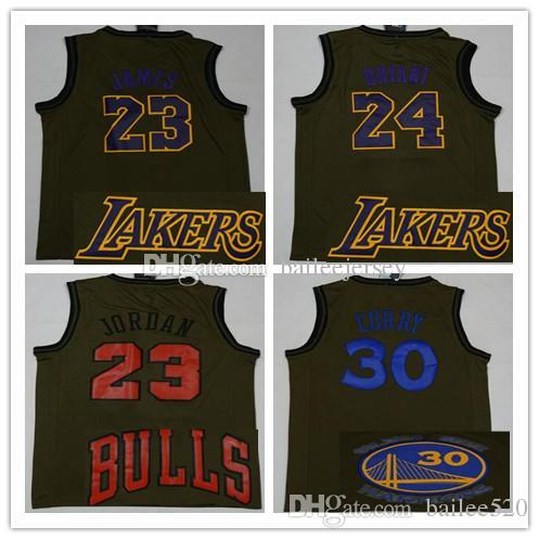 c4752207825 2018 2019 Mens Stitched  23 James 23 Michael Basketball Jersey Army Green  24 Kobe Bryant 30 Stephen Curry MJ James Bryant Basketball Jerseys From  Bailee520