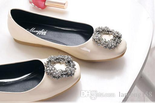 Free send Hot diamond square toes Single shoes Shallow mouth flat woman shoes in spring
