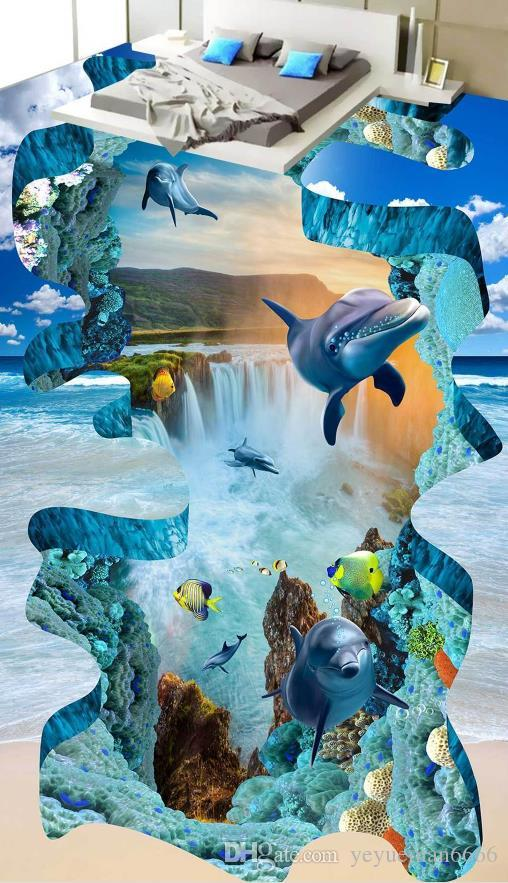 Papel de parede autoadesivo 3D que pavimenta o mundo subaquático Wallpapers para o assoalho da sala de visitas 3D do quarto