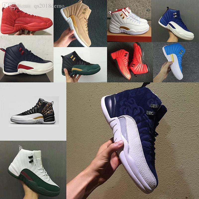 Hohe qualität 12 12 s OVO Weiß Gym Rot Dunkelgrau Basketball Schuhe Männer Frauen Taxi Blau Wildleder Grippe Spiel CNY Sneakers größe 36 47