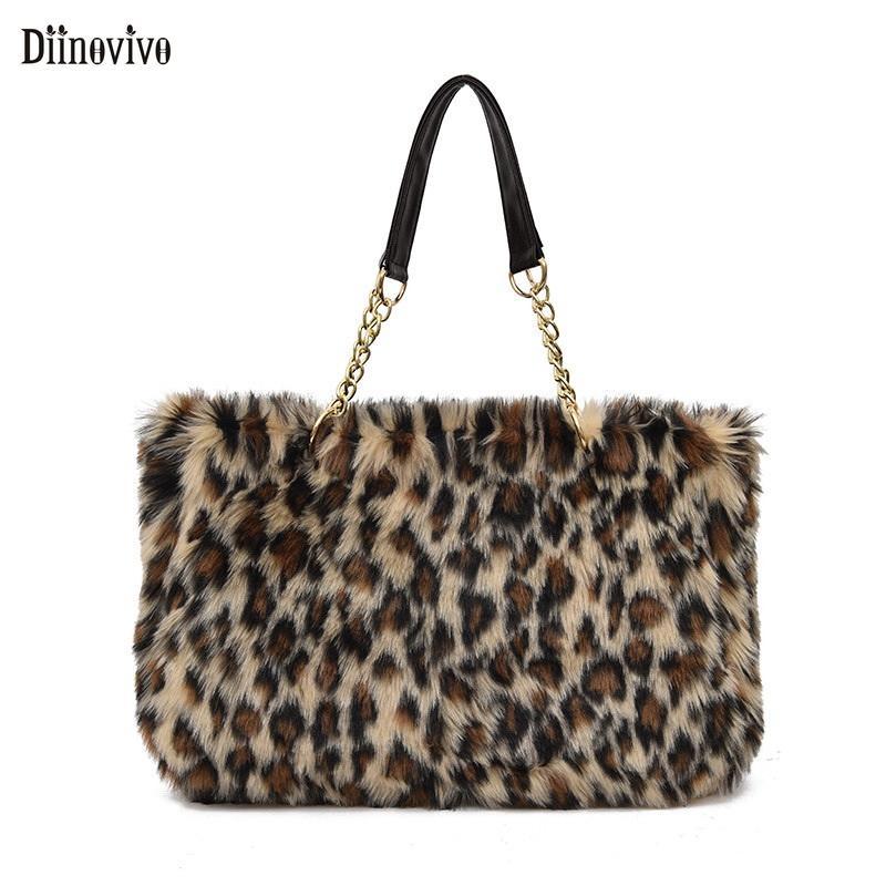 26dd2a4db Compre Diinovivo Personalidade Leopardo Impressão Bolsa De Ombro Feminino  Grande Capacidade Mulheres Saco De Viagem 2018 Inverno Bolsas De Pelúcia  Totes ...