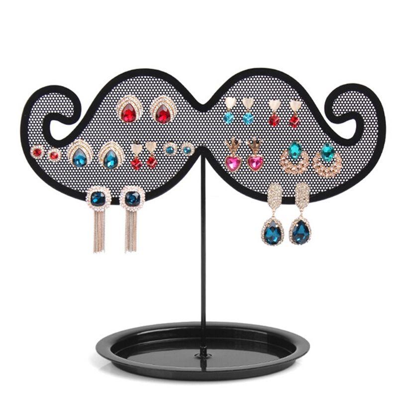 Fashion Jewelry Display Shelf Black Beard Shape Ear Stud Holder Stand Metal Earring Hanging Organizer for Women