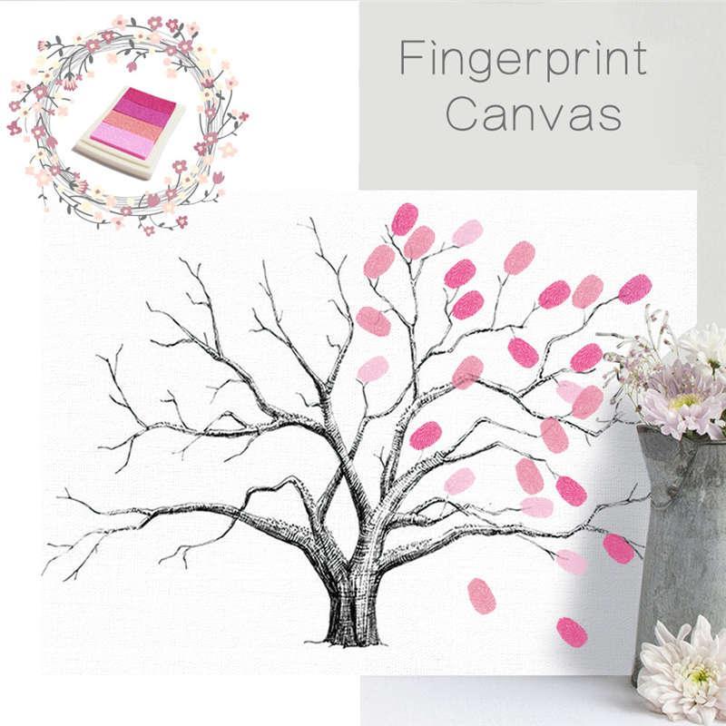 Grosshandel Kreative Hochzeit Baum Unterschrift Gastebuch Fingerprint