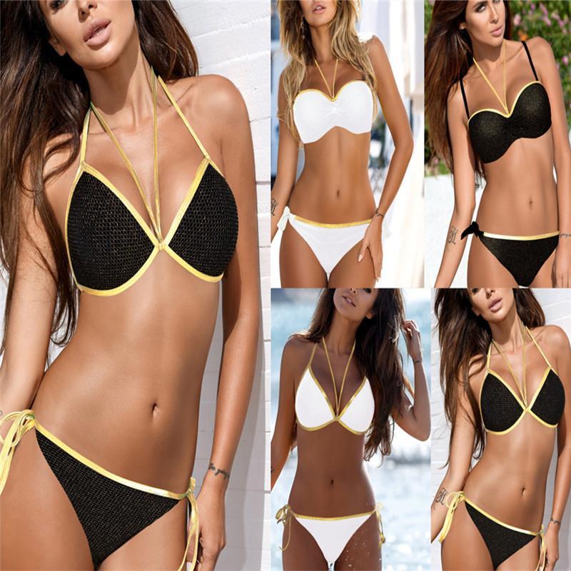 692b91ed71c Women Bikini Set Push Up Swimsuits Swimwear Golden Bathing Suit Beach Wear  Brazilian Bikinis Bikinis Cheap Clothing Bikini for Women Online with ...