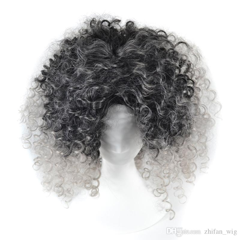 Z&F Ombre Granny Grey Brown Blonde Afro Kinky Curly Weave Hair Synthetic Wigs Short Wigs For Black Women