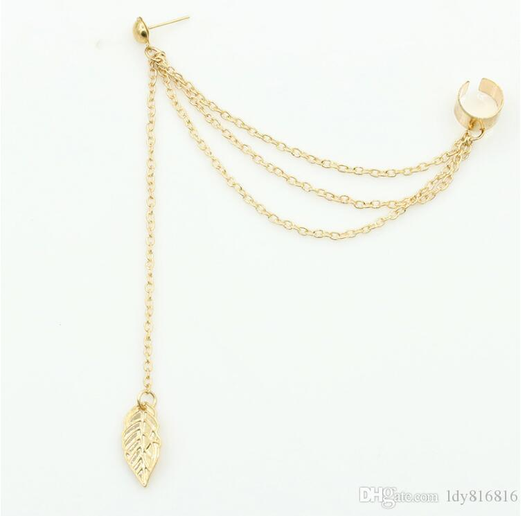 Personality fringed Earbob The ear clip Metal leaves chain Earrings Alloy material Not fading No allergy Dangle & Chandelier