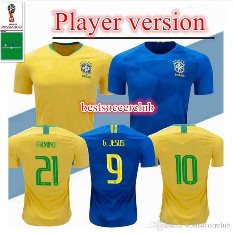 0916cbf87 2019 Player Version Brasils 2018 World Cup Soccer Jersey Brasils Home  Yellow Away Soccer Shirt G.JESUS COUTINHO MARCELO FIRMINO Football Shirts  From ...