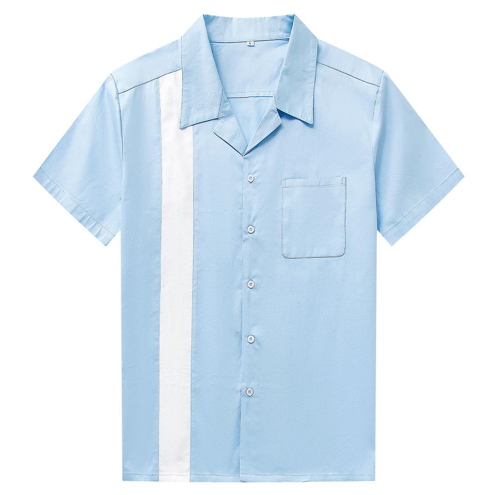 2019 Solid Cotton Short Sleeve Mens Clothing Sky Blue Casual Shirts