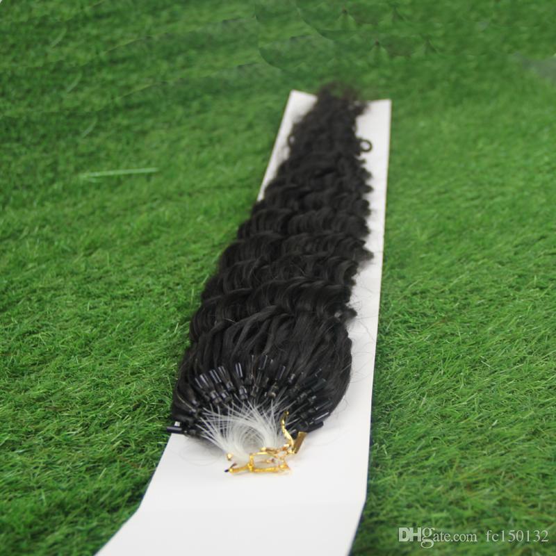 Бразильский глубокая волна волос микро петли человеческих волос расширения 100г 1 г/с 100х микро ссылка наращивание 1 г микро-цикла Кольцо наращивание волос