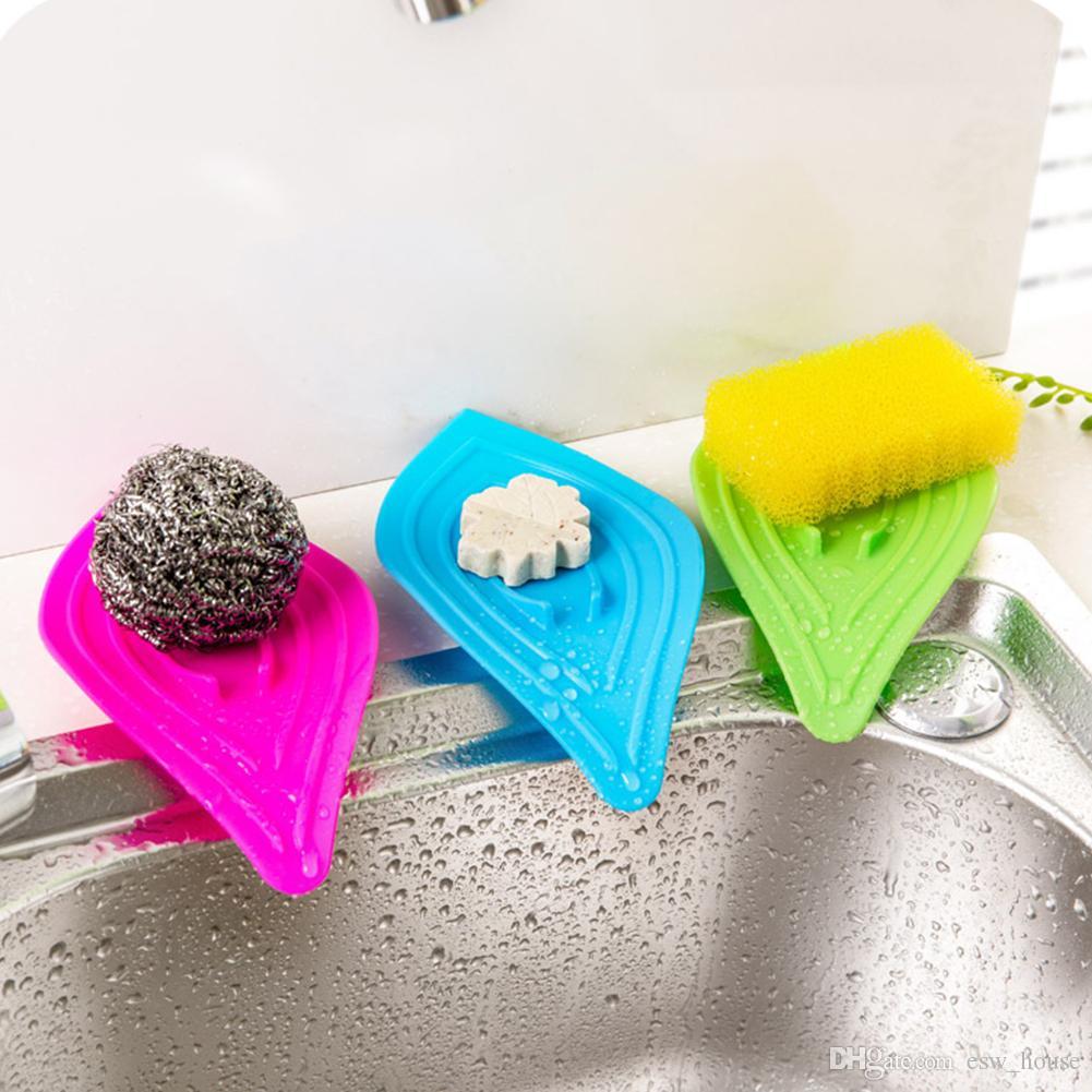 2018 Leaves Soap Box Kitchen Sink Sponge Holder Multifunctional Slip ...
