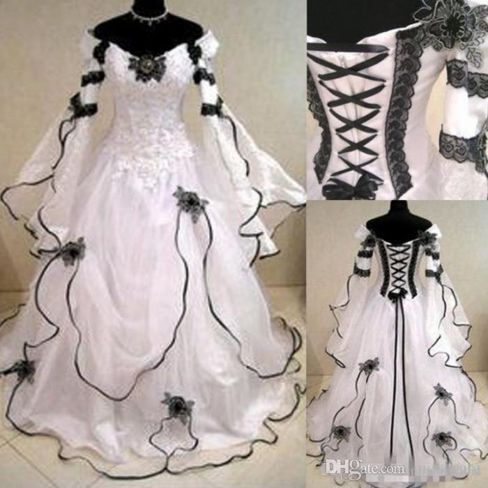 2018 Vintage Plus Size Gothic Wedding Dresses Long Sleeves Black Lace  Corset Back Chapel Train A Line Bridal Gowns For Garden Country
