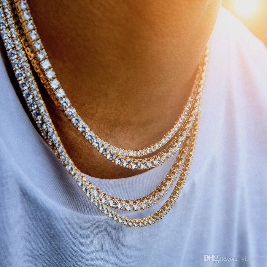 f9d3de093e145 Hip Hop Gold Chain 1 Row 5mm Round Cut Tennis Necklace Chain 28inch -24inch  30inch Mens Punk Iced Out aaa cz tone tennis chain Necklace