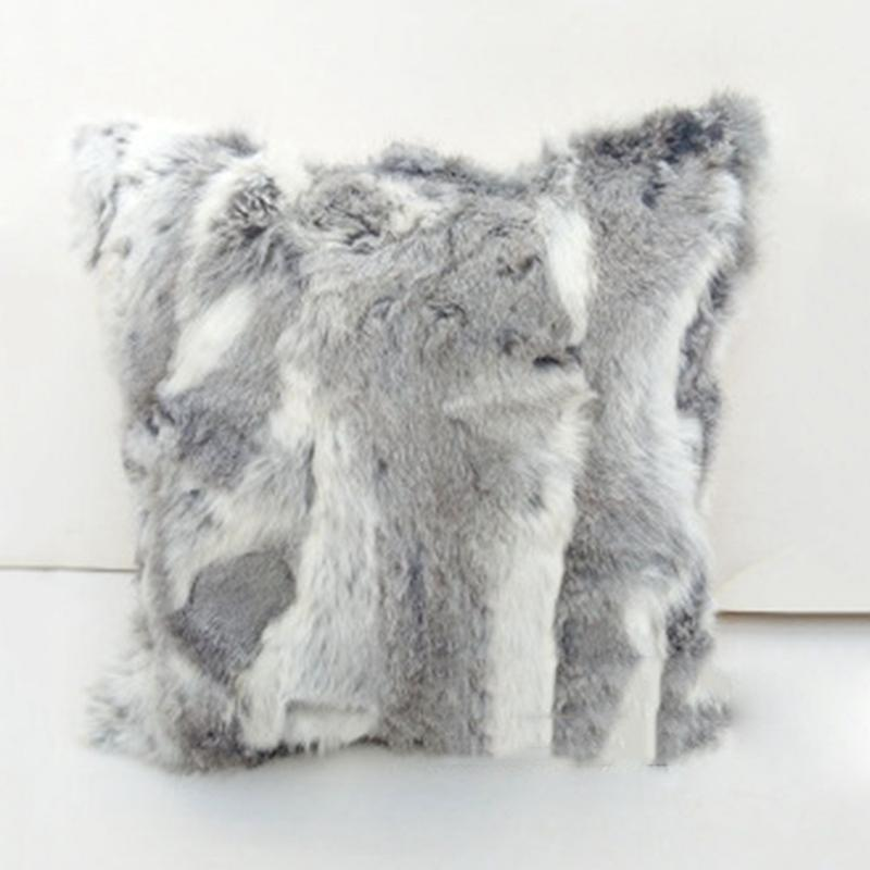 Natural Rabbit Fur Cushion Cover Pillow Case Housse De Home Mesmerizing Rabbit Fur Pillow Cover