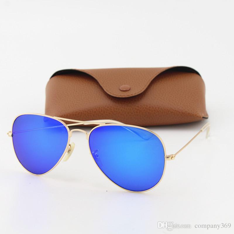c5b81ab002d66 Compre Gafas De Sol De Moda Piloto De Diseño De Alta Calidad Para Hombres  Mujeres Marca Vassl Gafas De Sol Marco De Oro Mate Espejo Azul 58 Mm Con  Caja De ...