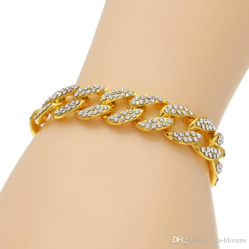 Jewelry Cuban Link Bracelet Gold White Crystal Plated Bracelet With Clear Rhinestones Premium Fashion Jewelry Gift D769S