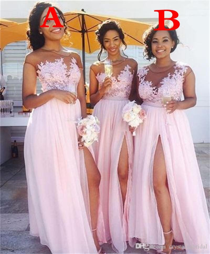 637fb3667 2018 Cheap Sexy Baby Pink Long Bridesmaid Dresses Jewel Neck Illusion Lace  Appliques Chiffon Bridesmaids Pink Party Dress Wedding Guest Gown Cute  Bridesmaid ...