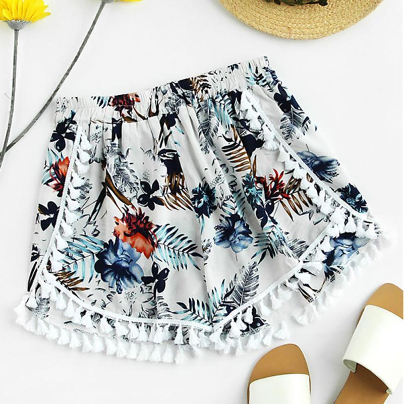 0057791af0f6 casuales amplios pantalones cortos para mujer de las piernas femeninas  Imprimir medio flojos de la cintura de la borla de la playa de Boho  calientes ...