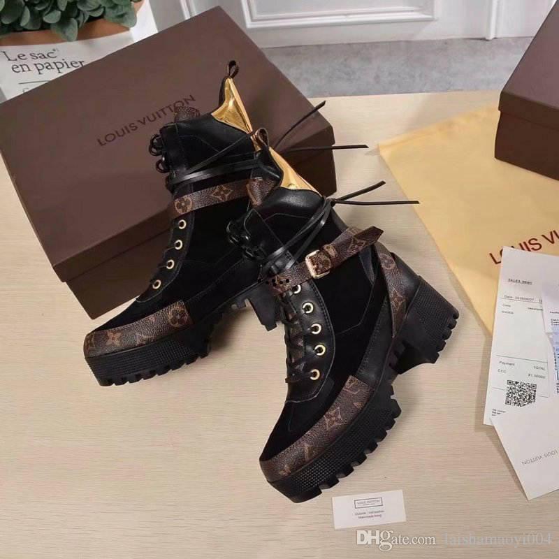 23 style luxury womens boots printing brand martin boots laureate platform desert boot work boot