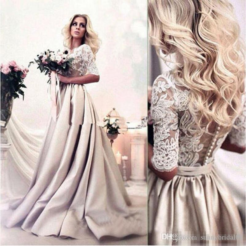Zuhair Murad 2018 Satin Wedding Dresses Sexy Sheer Neck Lace Appliqued Boho Bridal Gowns Beach Bohemia Wedding Dress