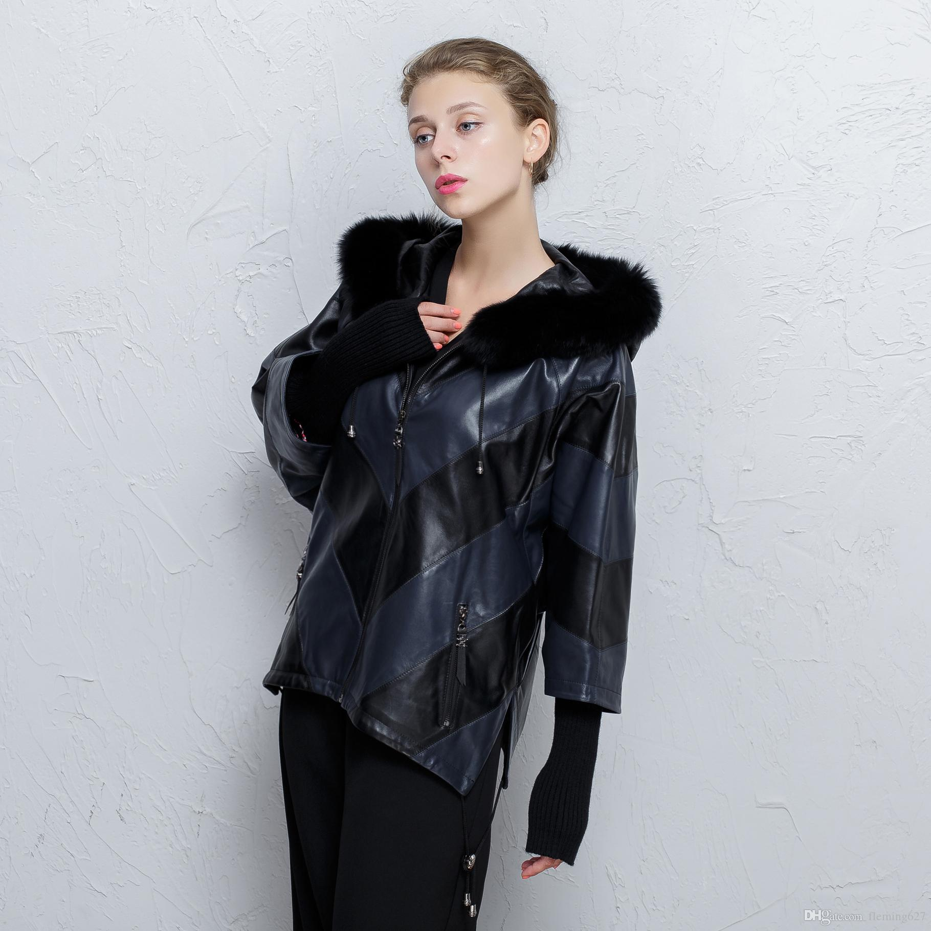 6a7f6ab8dcb41 2019 Fox Fur Collar Short Women Jacket 100% Genuine Leather Sheep Coat  Stitching Loose Large Size Bat Shirt Hooded Fall Real Fox Fur Collar From  Fleming627