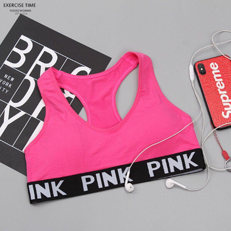 3c884f2dbca62 2018 2018 Top Love Pink Letter Sexy Women Sports Bra Running Yoga Vest  Shirts Shakeproof Gym Fitness Bra Push Up Elastic Crop Tops Underwear Lk01  From Alina ...