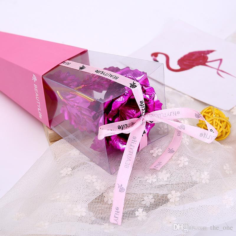 Scatola pieghevole Valentine Day Single Rose Fiori Foglia oro Fiori artificiali Decorazione di nozze Regalo insegnanti Giocattolo di Natale