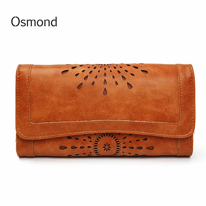 a4a1b152f2c7 Brand Designer Purse Long Wallet Women Leather Purse Ladies Hollow ...