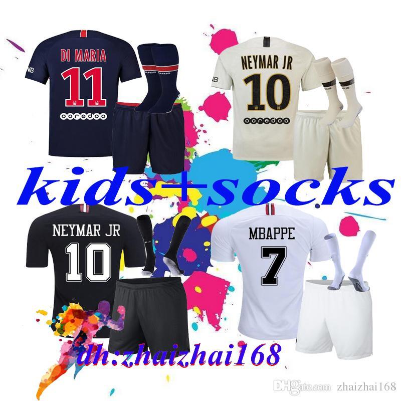211d5fd63 2019 2018 19 Paris Kids Kits + Socks MBAPPE Soccer Jersey 18 19 Psg MBAPPE  CAVANI MARQUINHOS LUCAS DI MARIA MATUIDI Children Football Shirts From ...