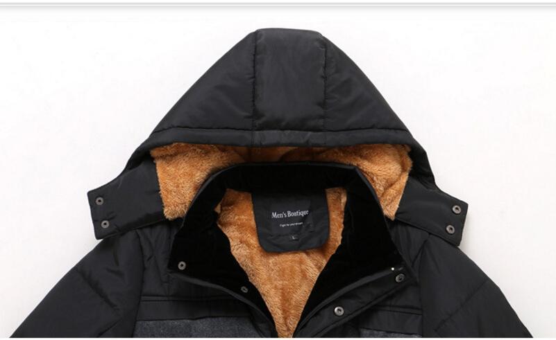 Hommes Hiver Épais Warm Warm Down Manteaux À Capuche En Molleton De Coton Rembourré De Fermetures À Glissière Jusqu'à Coupe-Vent Vestes Plus La Taille 4XL