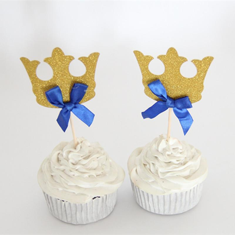 /pack Prince Party Decorations Gold & Blue Bow Crown Cupcake Toppers Picks Boys Baby Shower Party Cake Accessory Favor