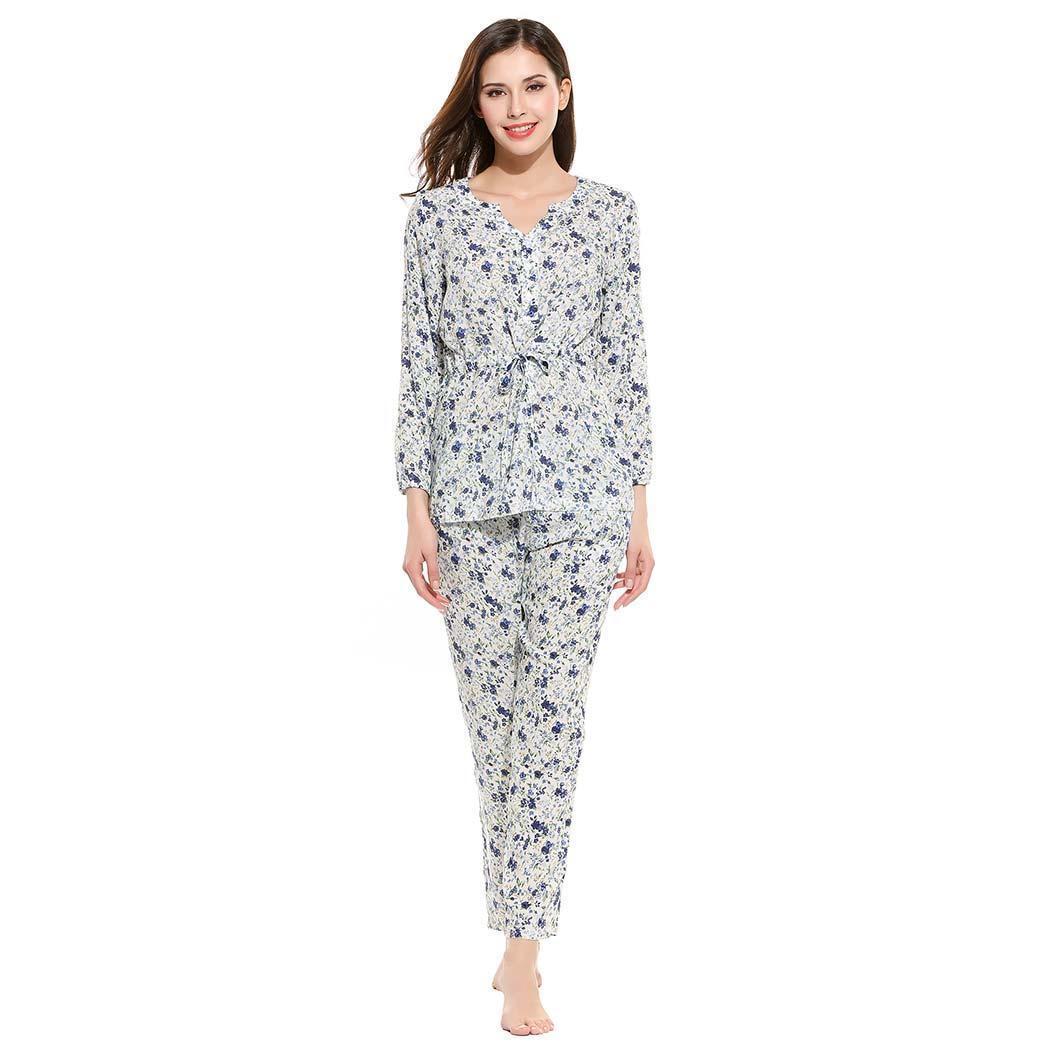 7734e77a2 Compre Ekouaer Women Pyjamas Set Ropa De Dormir Casual Cuello En V Manga  Larga Botón Cintura Cordón Top Con Pantalones Largos Conjuntos De Pijama  Ropa De ...