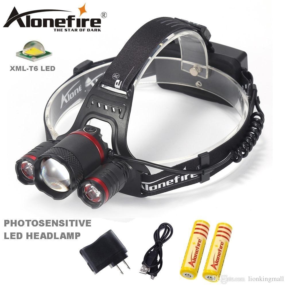 42ac02e41918e Compre Alonefire Hp33 Recarregável Xml T6 Zoom Led Farol Farol  Fotossensível Faróis Sensor Camping Farol De Pesca Para 2x18650 Bateria De  Lionkingmall