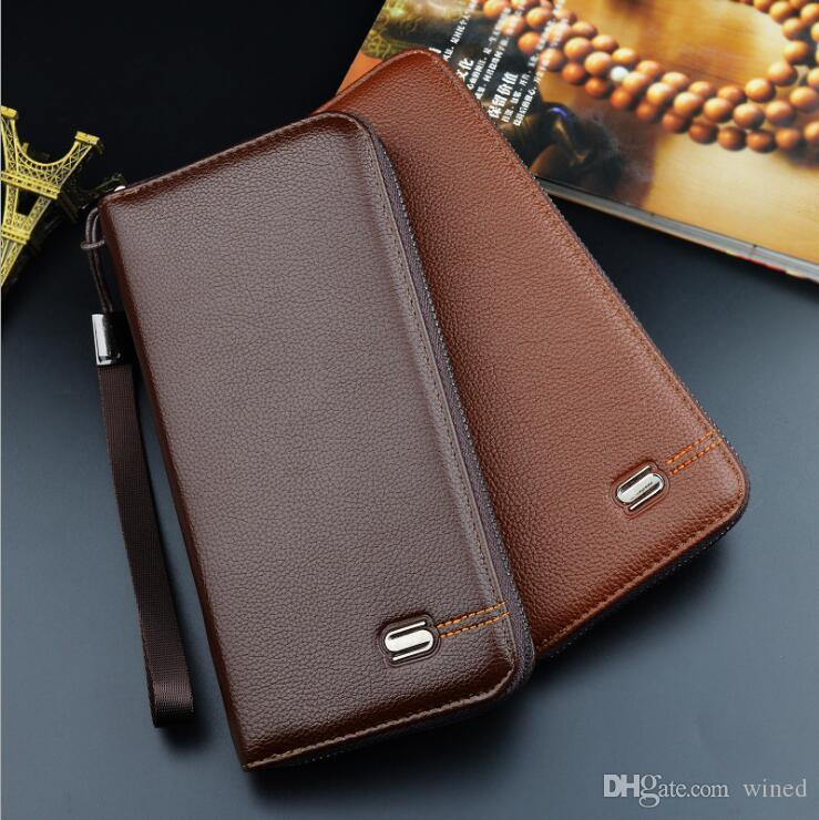 New fashion luxury Genuine Leather Men's Wallets Large Function Hand Strap Take Zipper Open Multi Bits ID Credit Card Holder Wallets