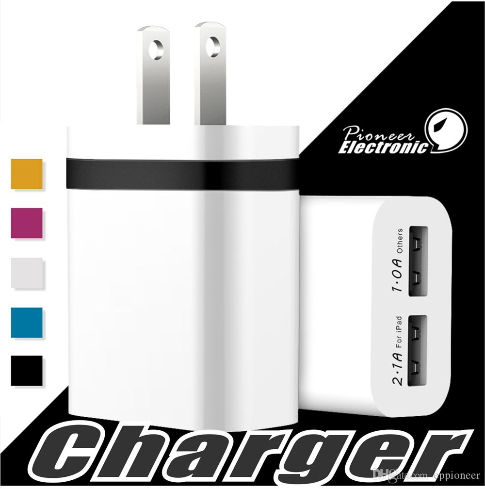 NOKOKO Chargeur mural universel double ports USB Adaptateur portable avec prise 2.1A 10W pour iPhone 7 6S Plus iPad Samsung Galaxy Note 8
