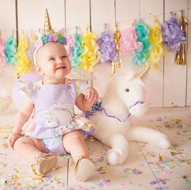 194d8b206d87 INS Unicorn Baby Girl Romper Cotton Kid Clothing Ruffle Sleeve Cute ...