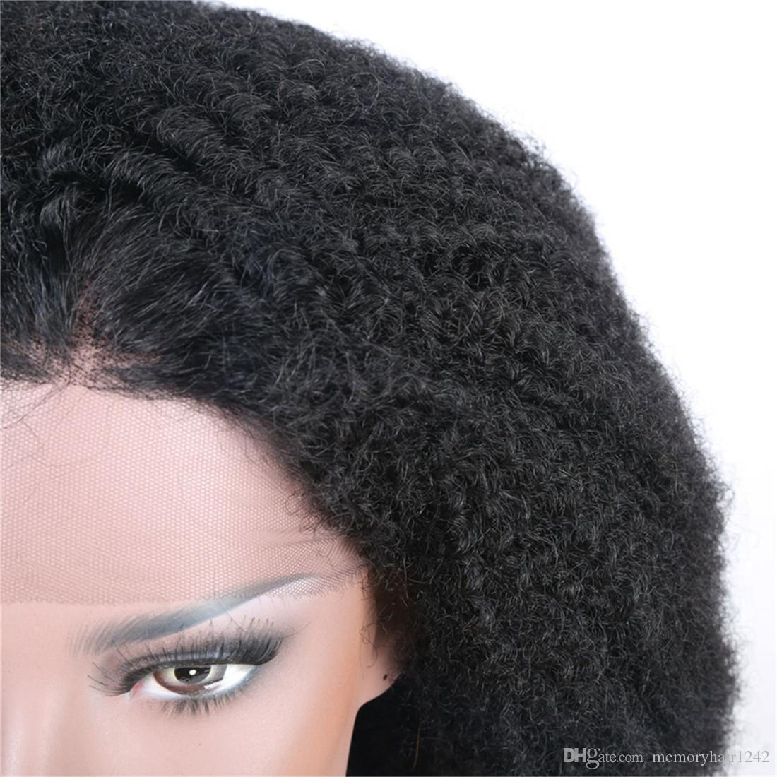 Afro Curly Front Lace Wig Human Hair Brazilian Malaysian Remy Vrigin Natural Color Hand-made 130% Density Swiss Lace Baby Hair