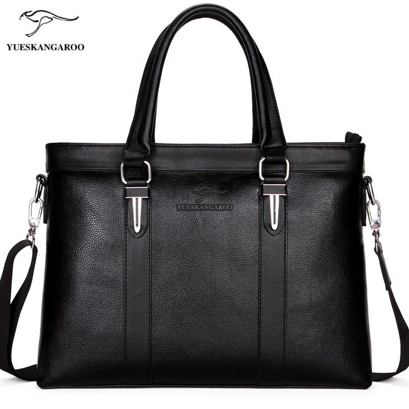 9d7336f6ab9e9 Großhandel YUES KANGAROO Marke Männer Tasche Casual Business Aktentasche  Mann Mittagessen Umhängetasche Leder A4 Dokument Laptop Handtasche Reise  Von ...