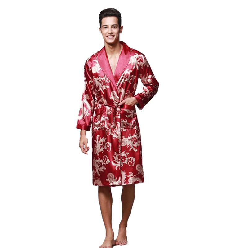50% price website for discount luxuriant in design Spring Men Kimono Robe Gown Long Sleeve Satin Print Dragon Nightwear  Bathrobes Nightgown Loose Causal Sleepwear Nightgown