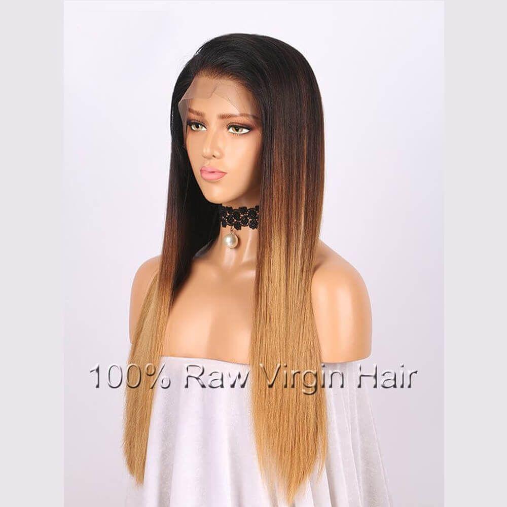 Lace Front Perücken Volle Spitze Perücken Brasilianische Remy Haar 1BT8T27 Ombre Farbe Gerade Freies Teil Pre Gezupft Natürliche Haaransatz 8 zoll-26 zoll