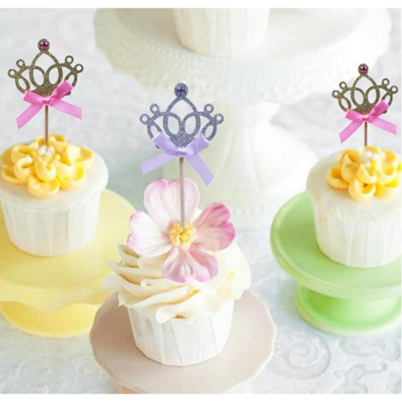 2019 Birthday Party Decoration Kids Baby Boy Girl Gold Silver Cupcake Toppers Princess Crown Cake From Brendin 2141