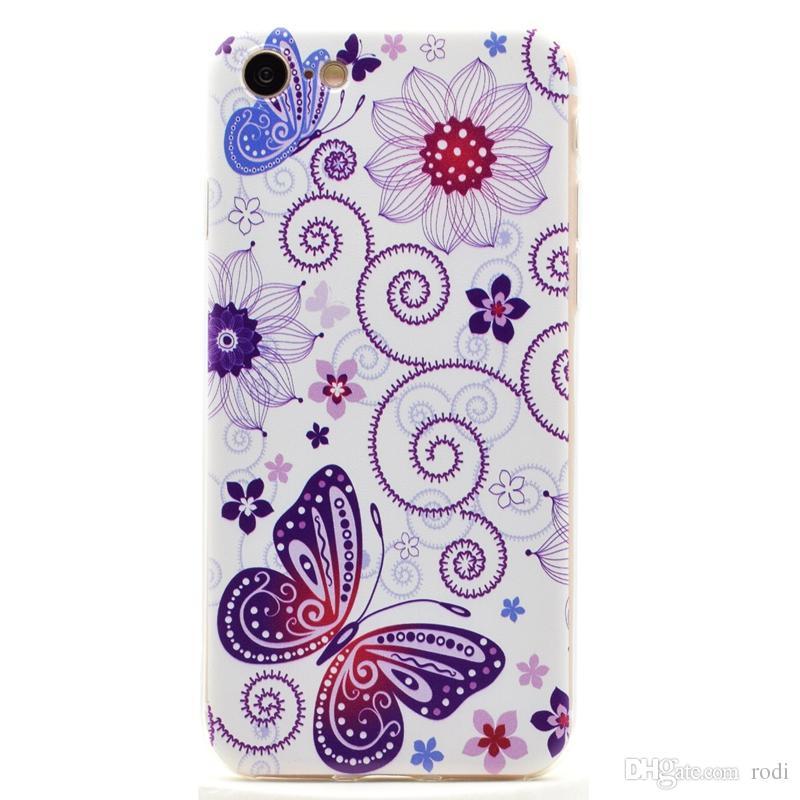 Para iphone7 7 plus phone case tampa traseira shell macio tpu pintura relevo em relevo transparente à prova de choque projeto personalizado