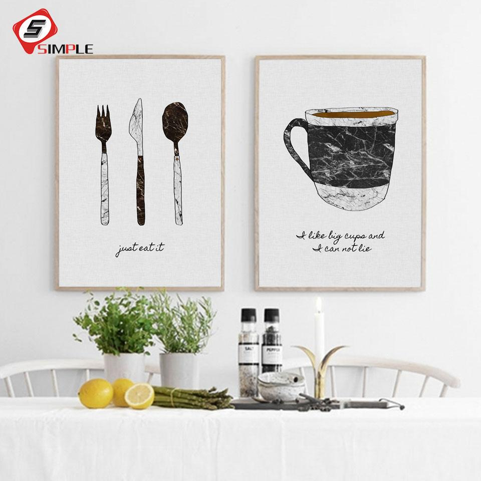 2019 Black White Tableware Posters Canvas Painting For Dining Room