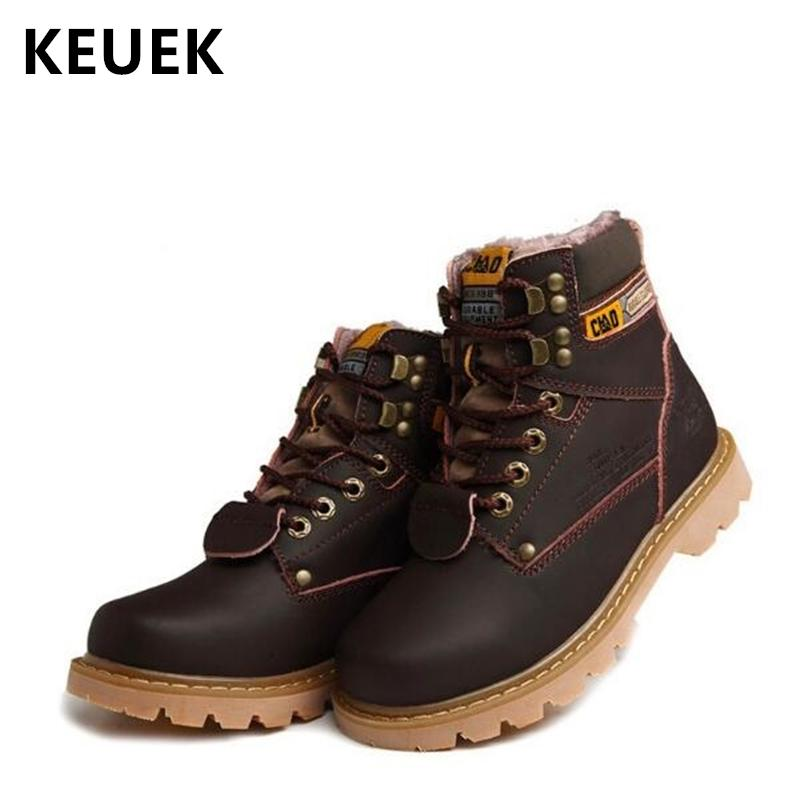 9c53813266a British style Men Martin boots Non-slip Wear resistant Outdoor Tooling  boots Male shoes Split Leather Ankle Snow 02C