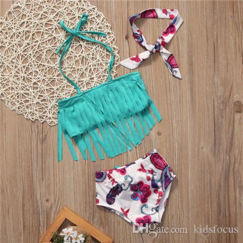 Toddler baby girls bikini swimwear swimsuit bathing tassels suit beachwear kids summer floral printing clothing