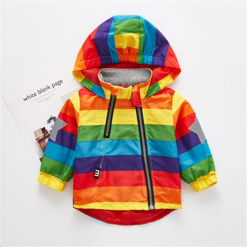 fashion Boys Girls Rainbow Coat Hooded Sun Water Proof Children's Jacket for Spring Autumn Kids Clothes Clothing Outwear